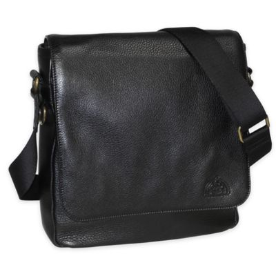 Dopp SoHo Leather Messenger Bag in Black