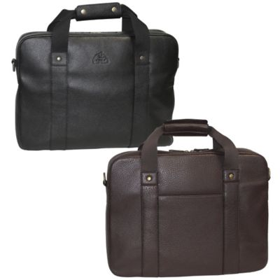 Dopp SoHo Leather Slim Laptop Briefcase in Black
