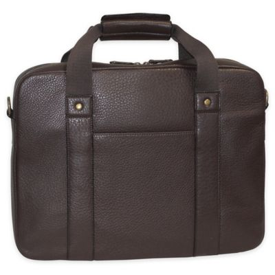 Dopp SoHo Leather Slim Laptop Briefcase in Brown