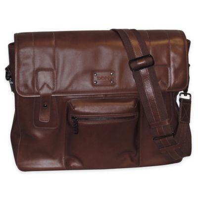Dopp Gear Leather Messenger Bag in Brown