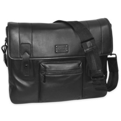 Dopp Gear Leather Messenger Bag in Black