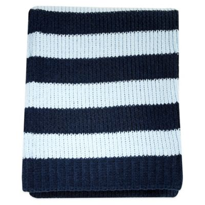 Nautica Kids® Mix & Match Striped Chenille Blanket in Navy/Sky Blue