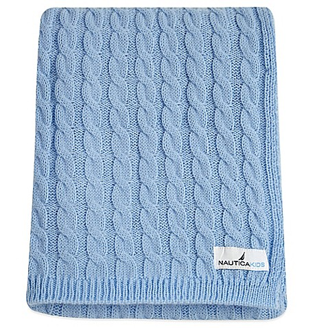 Nautica Kids Mix Match Cable Knit Blanket In Sky Blue