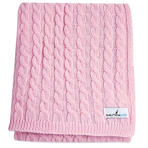 Nautica Kids Mix Match Cable Knit Blanket In Pink