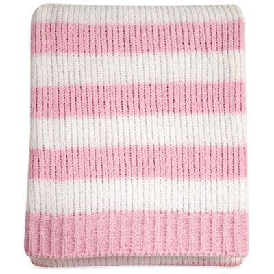 Nautica Kids® Mix & Match Striped Chenille Blanket in Pink/White