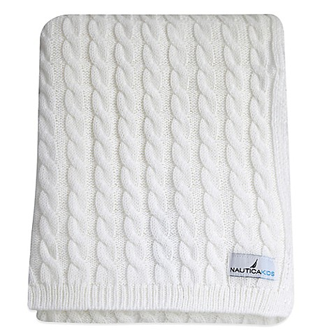 Nautica Kids Mix Match Cable Knit Blanket In White