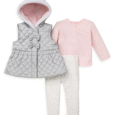 Little Me® Size 12M 3-Piece Glitzy Hoodie Vest, Knit Top, and Legging Set in Pink/Grey