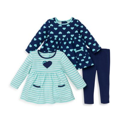 Little Me® Size 12M 3-Piece Heart Tunics and Legging Set in Aqua/Navy