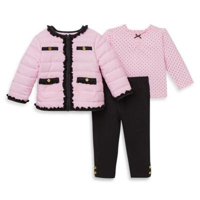 Little Me® Size 3T 3-Piece Quilted Jacket, Knit Top, and Legging Set in Pink/Black