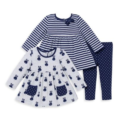 Little Me® Size 12M 3-Piece Bunny and Stripe Tunics and Dot Legging Set in Grey/Navy