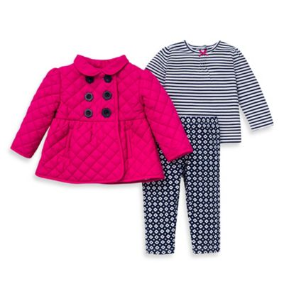 Little Me® Size 12M 3-Piece Quilted Jacket, Knit Top, and Legging Set in Magenta/Navy