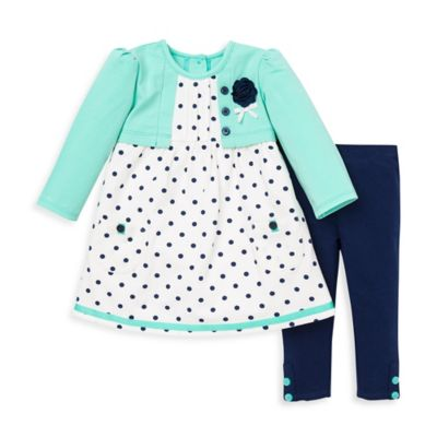 Little Me® Size 12M 2-Piece Dress and Legging Set in Ice Green/Navy