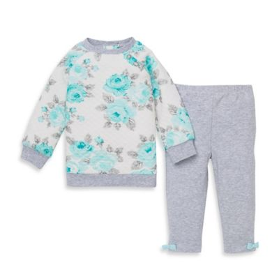 Little Me® Size 12M 2-Piece Rose Quilted Top and Legging Set in Aqua/Heather Grey