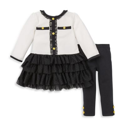 Little Me® Size 12M 2-Piece Ruffled Dress and Legging Set in White/Black