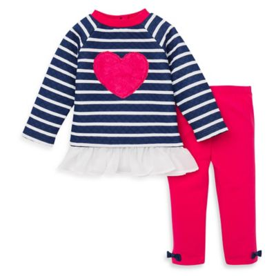 Little Me® Size 12M 2-Piece Quilted Ruffled Heart Top and Legging Set in Red/Navy