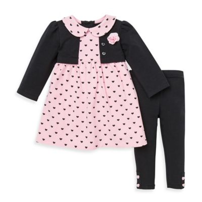 Little Me® Size 2T 2-Piece Dress and Legging Set in Pink/Black