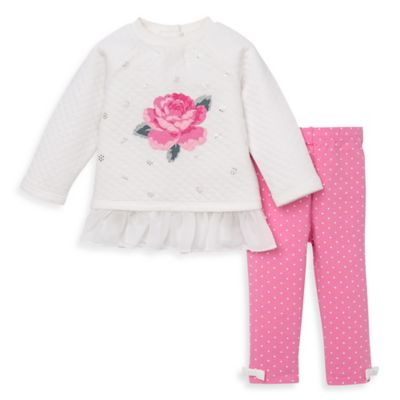 Little Me® Size 12M 2-Piece Shiny Rose Quilted Top and Legging Set in Pink/Grey