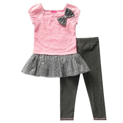 Sweet Heart Rose® Size 3M 2-Piece Popover Top and Legging Set in Pink/Grey