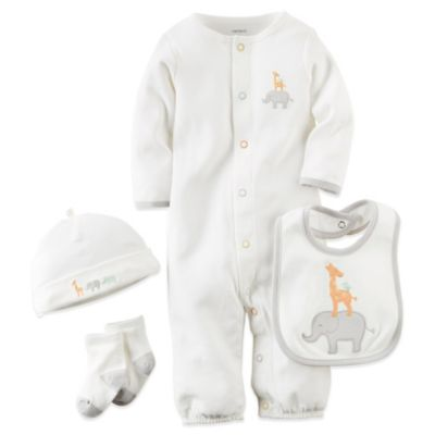 Carter's® Size 3M 4-Piece Jungle Animal Convertible Gown, Hat, Sock, and Bib Set in Ivory