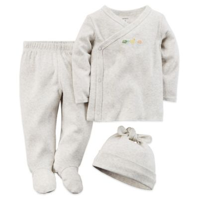 Carter's® Newborn 3-Piece Side-Snap Top, Pant, and Hat Set in Heather
