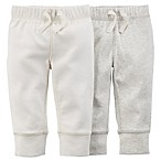 Carter's® Size 0-3M 2-Pack Footless Pant in Ivory/Heather