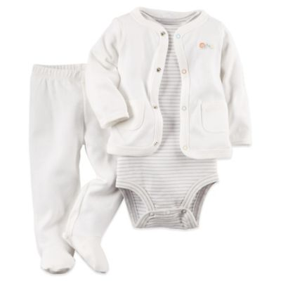 Carter's® Newborn 3-Piece Snails Cardigan, Bodysuit, and Pant Set in Ivory/Heather