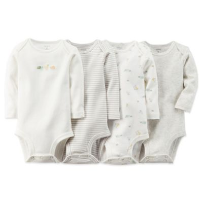 Carter's® Newborn 4-Pack Long Sleeve Bodysuits in Ivory