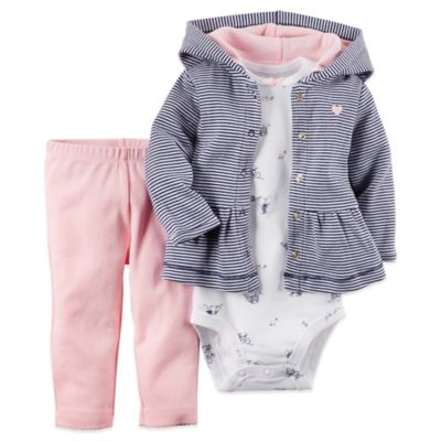 Carter's® Size 6M 3-Piece Hoodie, Bodysuit, and Pant Set in Navy/Pink