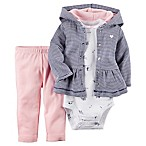 Carter's® Size 3M 3-Piece Hoodie, Bodysuit, and Pant Set in Navy/Pink