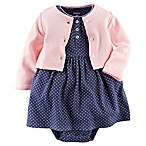 Carter's® Size 6M 2-Piece Bodysuit Dress and Cardigan Set in Navy/Pink
