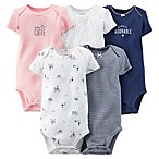 Carter's® Size 3M 5-Pack  Cutie  Bodysuits in Navy/Pink/White