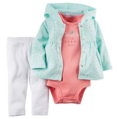 "Carter's® Newborn ""Beautiful"" 3-Piece Bodysuit, Hoodie, and Pant Set in Turquoise/Coral"