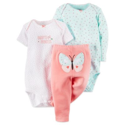 "Carter's® Size 3M 3-Piece ""Daddy's Princess"" Bodysuits and Pant Set in Pink"