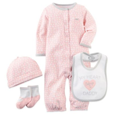 "Carter's® Size 3M ""My Heart Belongs to Daddy"" Convertible Gown, Hat, Sock, and Bib Set in Pink"