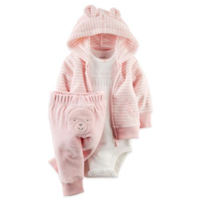 Carter's® Size 6M 3-Piece Terry Cardigan, Bodysuit, and Pant Set in Pink