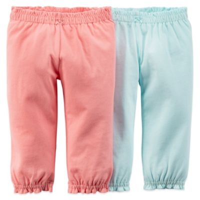 Carter's® Size 12M 2-Pack Pull-On Pant with Ruffle Cuff in Coral/Turquoise