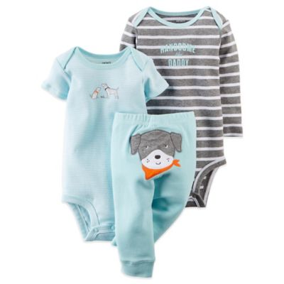 "Carter's® Newborn 3-Piece ""Handsome Like Daddy""/Dog Pant and Bodysuit Set in Light Blue/Grey"