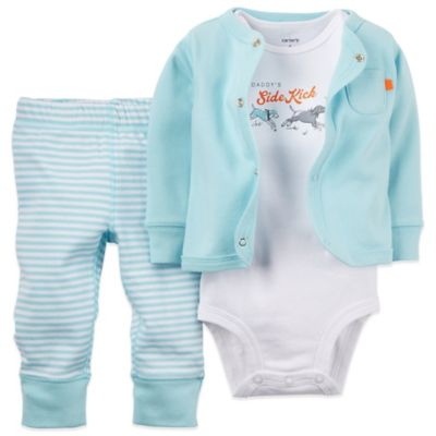 "Carter's® Size 3M 3-Piece Cardigan, ""Daddy's Sidekick"" Bodysuit, and Pant Set in Light Blue"