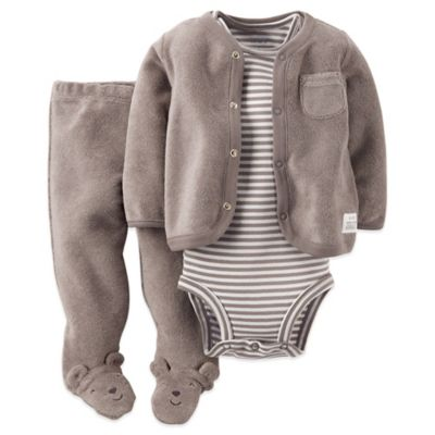 Carter's® Size 3M 3-Piece Long Sleeve Cardigan, Bodysuit, and Footed Pant Set in Grey