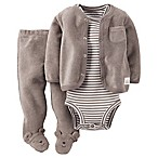 Carter's® Size 6M 3-Piece Long Sleeve Cardigan, Bodysuit, and Footed Pant Set in Grey