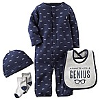 Carter's® Size 3M  Mommy's Little Genius  Convertible Gown, Hat, Sock, and Bib Set in Navy