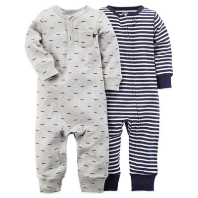 Carter's® Size 6M 2-Pack Mustache/Stripe Footless Coverall Set in Navy/Grey