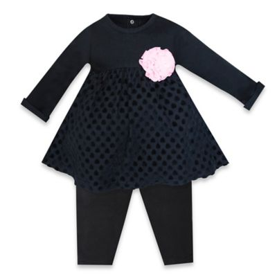 Wendy Bellissimo™ Size 3-6M 2-Piece Embossed Dress and Pant Set in Black/Pink