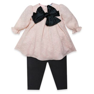 Wendy Bellissimo™ Size 0-3M 2-Piece Flouncy Knit Bow Top and Pant Set in Peach/Black