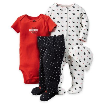 "carter's® Newborn 4-Piece ""Adorable Girl"" Bodysuit, Pant, Footie and Hat Set in Red/White"