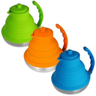 Silicone & Stainless Steel Collapsible 40 oz. Tea Kettle in Blue
