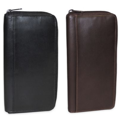Dopp Leather Regatta Zipper Passport Organizer in Mahogany