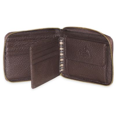 Dopp SoHo RFID-Blocking Leather Zip-Around Wallet in Brown