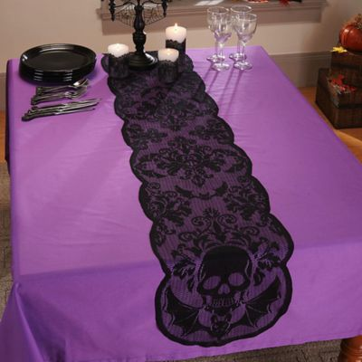 Skulls 72-Inch Lace Table Runner in Black