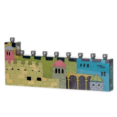 Jerusalem City Hand Painted Hanukkah Menorah